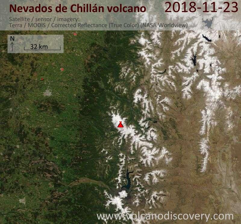Satellite image of Nevados de Chillán volcano on 23 Nov 2018