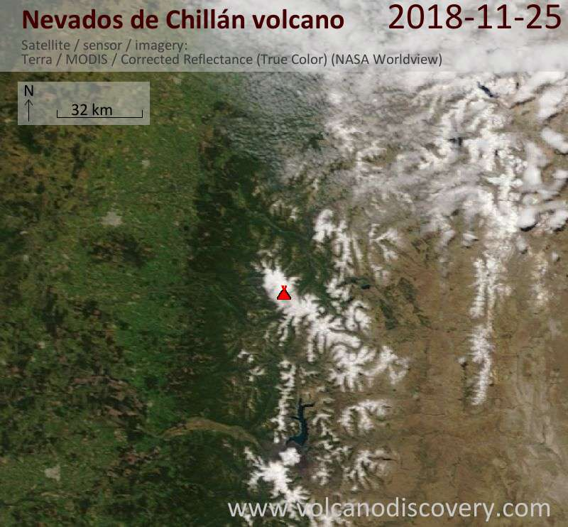 Satellite image of Nevados de Chillán volcano on 25 Nov 2018