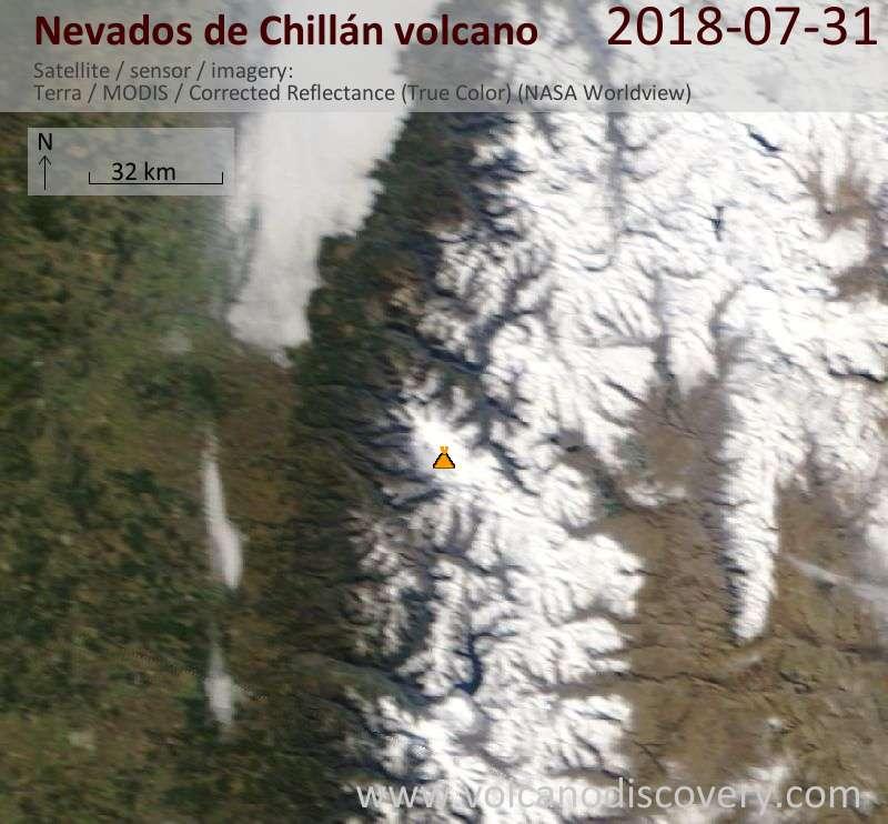 Satellite image of Nevados de Chillán volcano on 31 Jul 2018