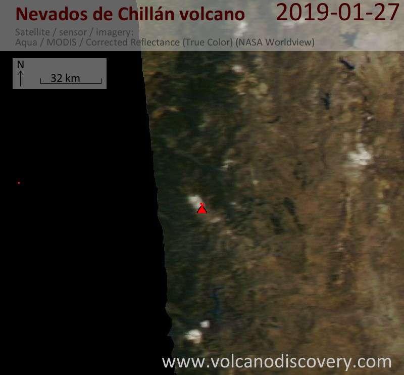 Satellite image of Nevados de Chillán volcano on 27 Jan 2019