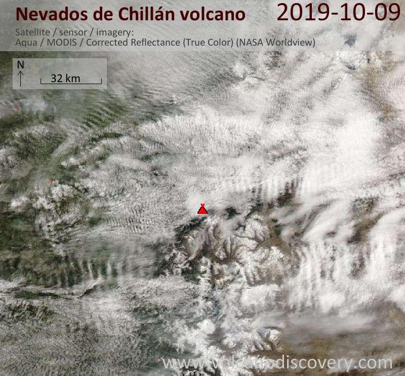Satellite image of Nevados de Chillán volcano on 10 Oct 2019
