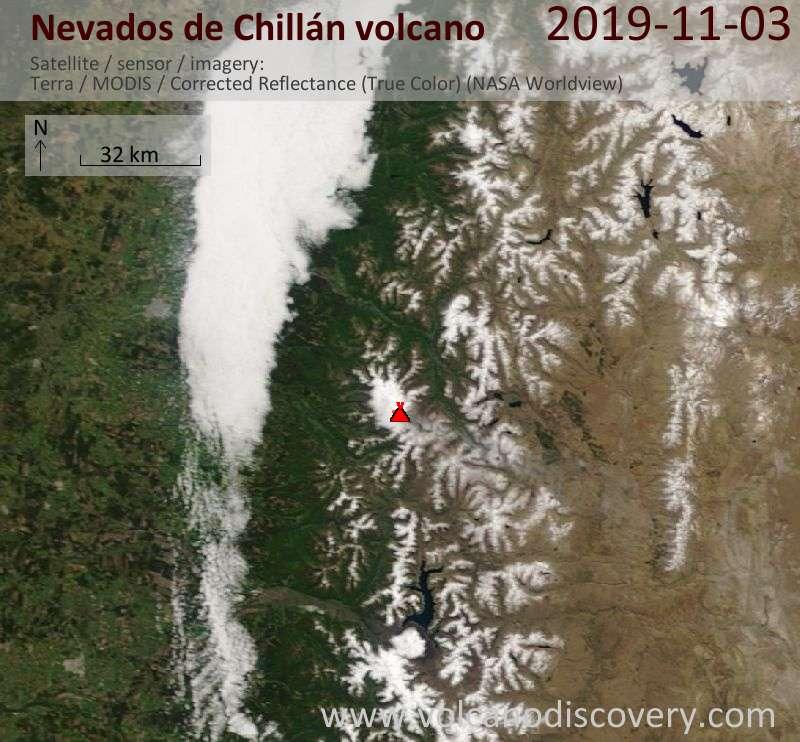 Satellite image of Nevados de Chillán volcano on  3 Nov 2019