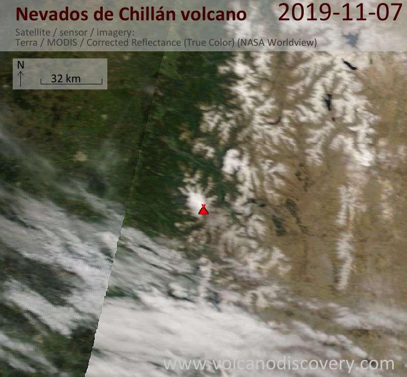 Satellite image of Nevados de Chillán volcano on  7 Nov 2019