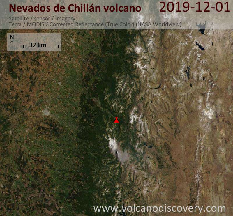 Satellite image of Nevados de Chillán volcano on  1 Dec 2019