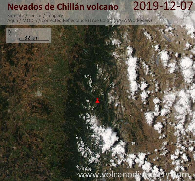 Satellitenbild des Nevados de Chillán Vulkans am  7 Dec 2019
