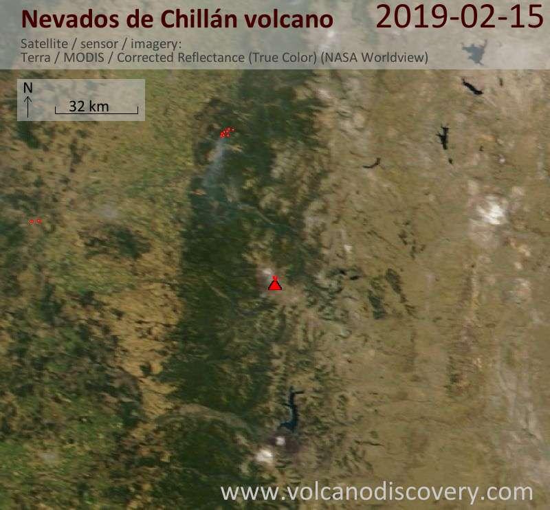 Satellitenbild des Nevados de Chillán Vulkans am 15 Feb 2019