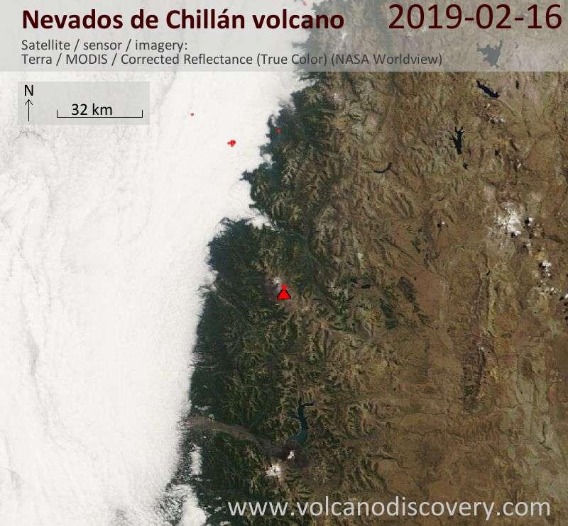 Спутниковое изображение вулкана Nevados de Chillán 16 Feb 2019