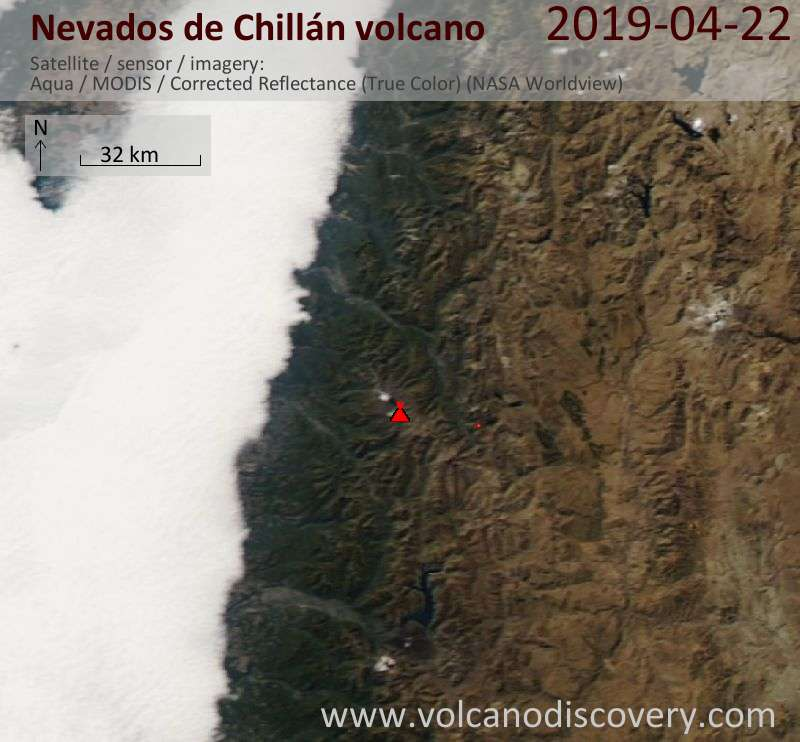Спутниковое изображение вулкана Nevados de Chillán 22 Apr 2019