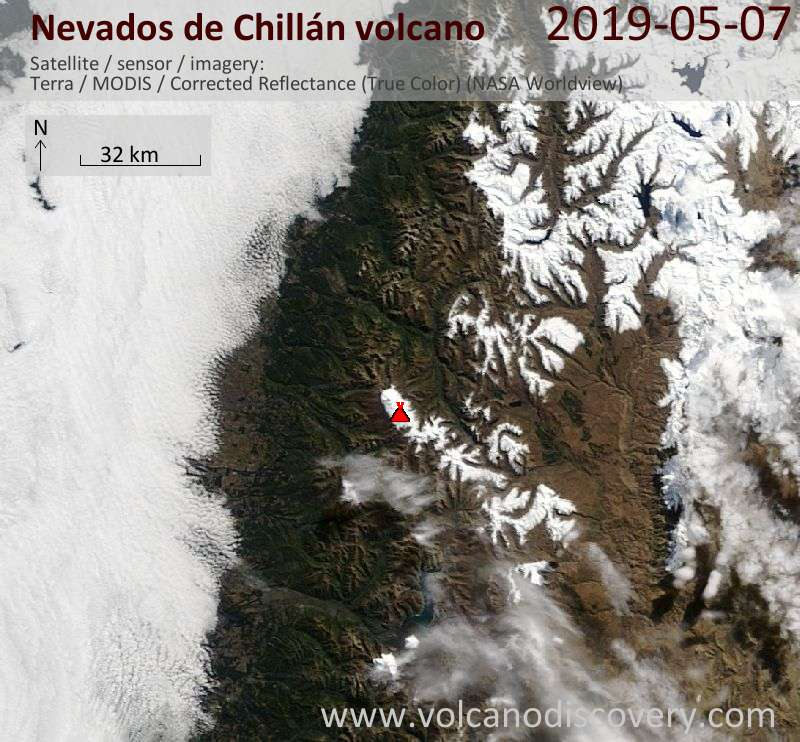 Satellite image of Nevados de Chillán volcano on  7 May 2019