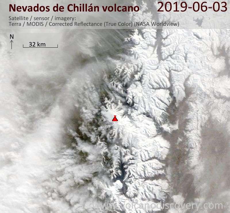 Спутниковое изображение вулкана Nevados de Chillán  3 Jun 2019