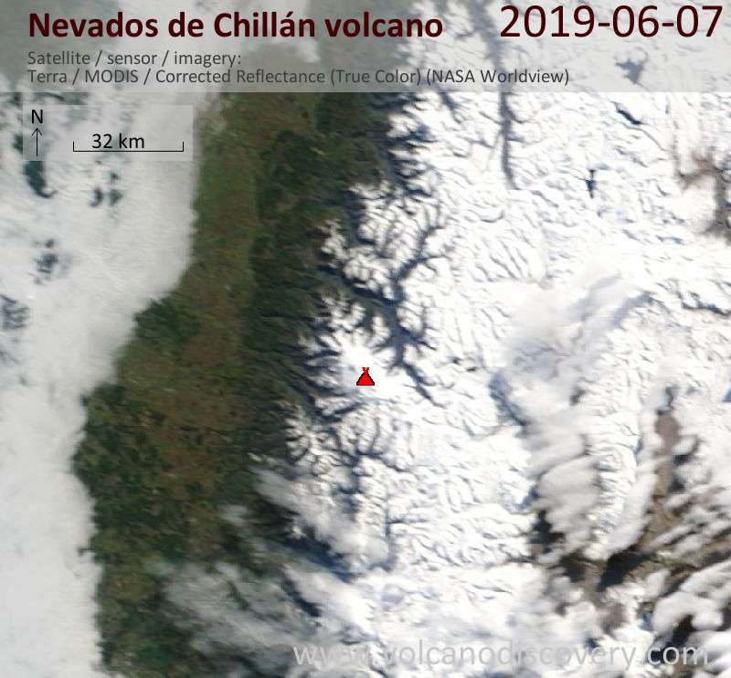 Спутниковое изображение вулкана Nevados de Chillán  7 Jun 2019