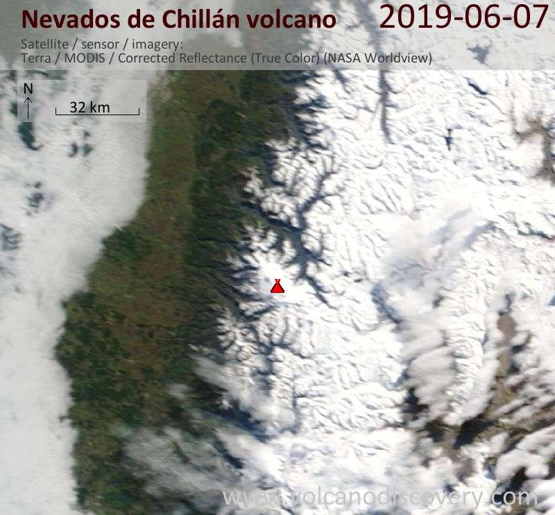 Satellite image of Nevados de Chillán volcano on  7 Jun 2019