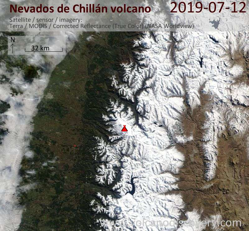 Satellitenbild des Nevados de Chillán Vulkans am 12 Jul 2019
