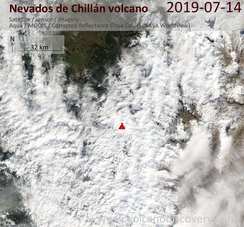 Спутниковое изображение вулкана Nevados de Chillán 15 Jul 2019