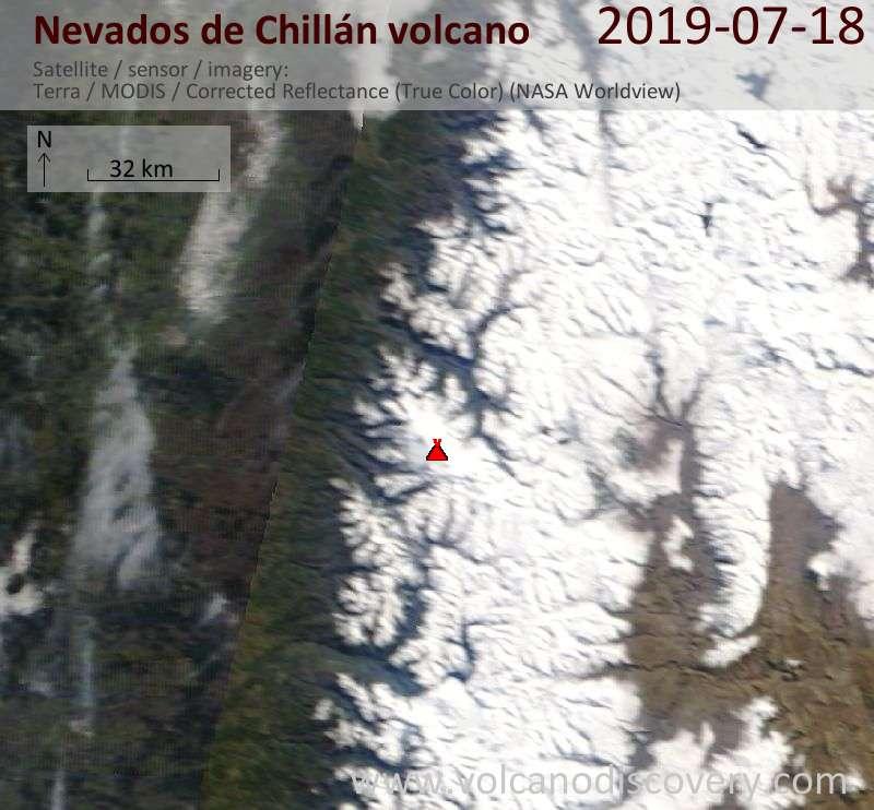Satellite image of Nevados de Chillán volcano on 18 Jul 2019