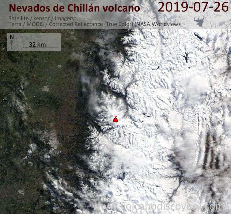 Спутниковое изображение вулкана Nevados de Chillán 26 Jul 2019