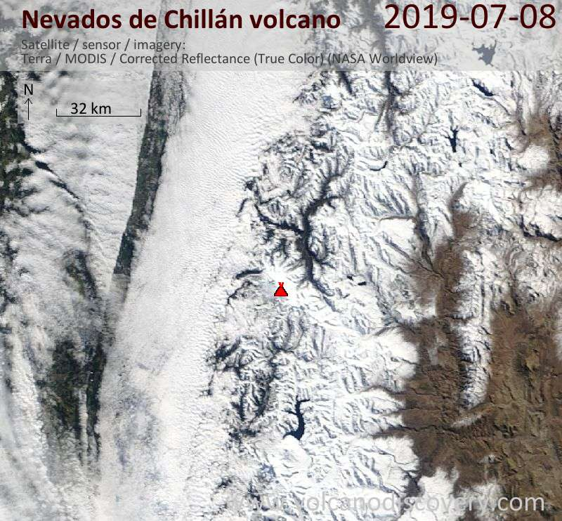 Satellite image of Nevados de Chillán volcano on  8 Jul 2019