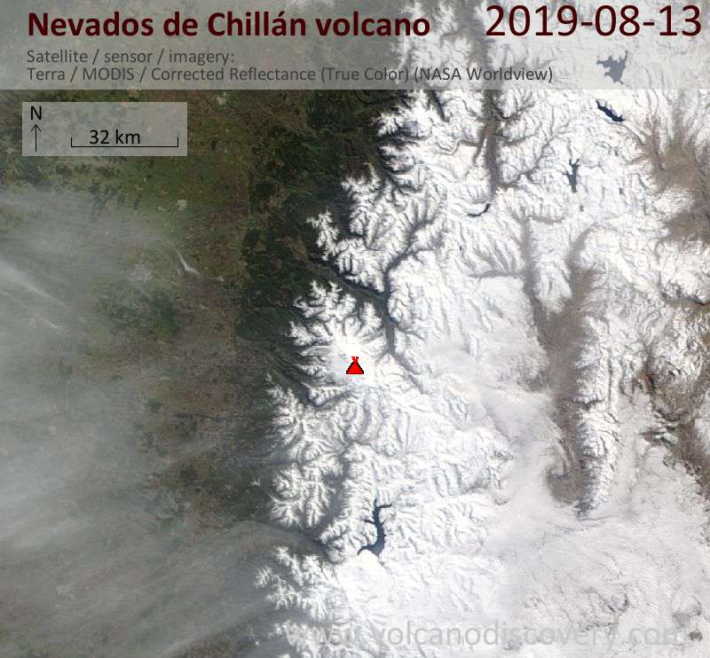 Satellitenbild des Nevados de Chillán Vulkans am 13 Aug 2019