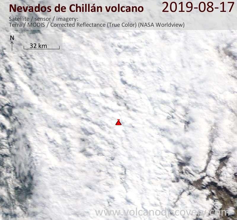 Satellitenbild des Nevados de Chillán Vulkans am 17 Aug 2019