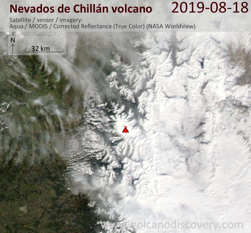 Satellitenbild des Nevados de Chillán Vulkans am 19 Aug 2019