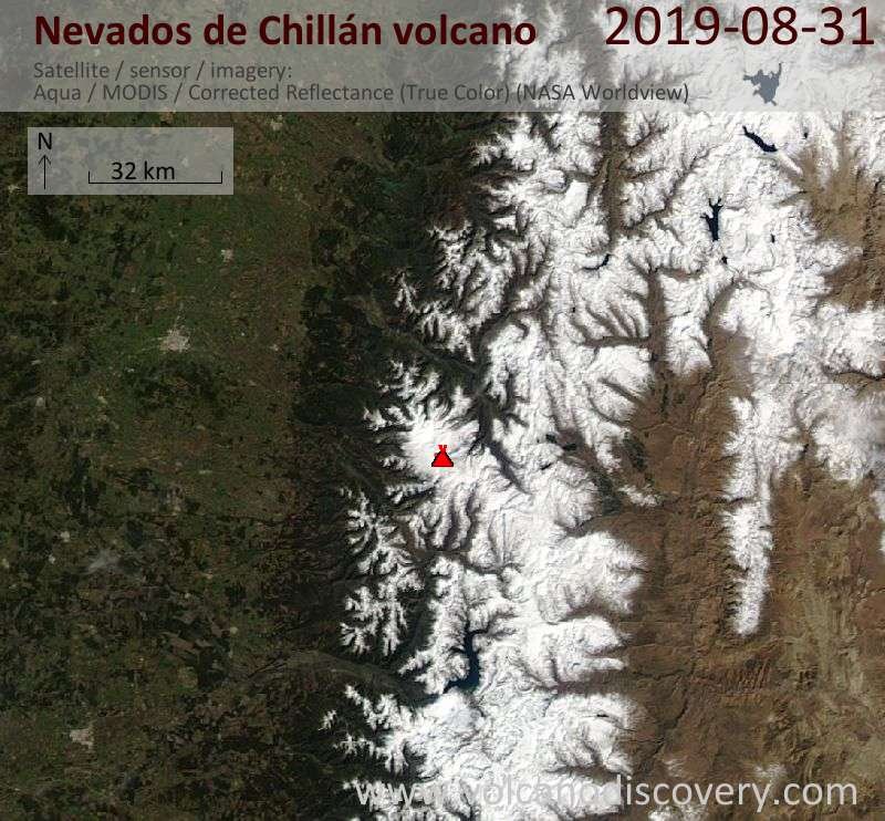 Satellitenbild des Nevados de Chillán Vulkans am  1 Sep 2019