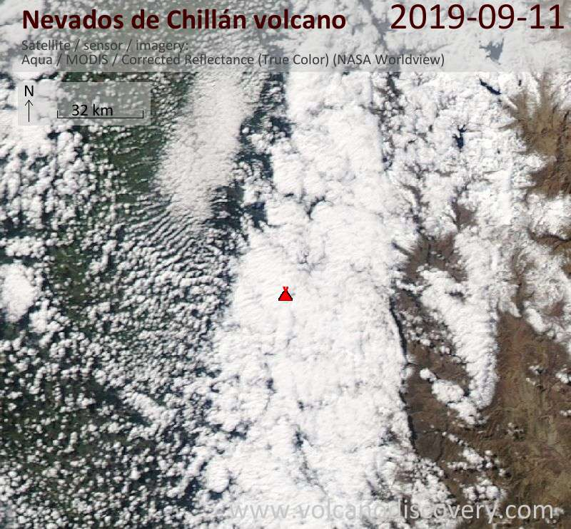 Satellite image of Nevados de Chillán volcano on 12 Sep 2019