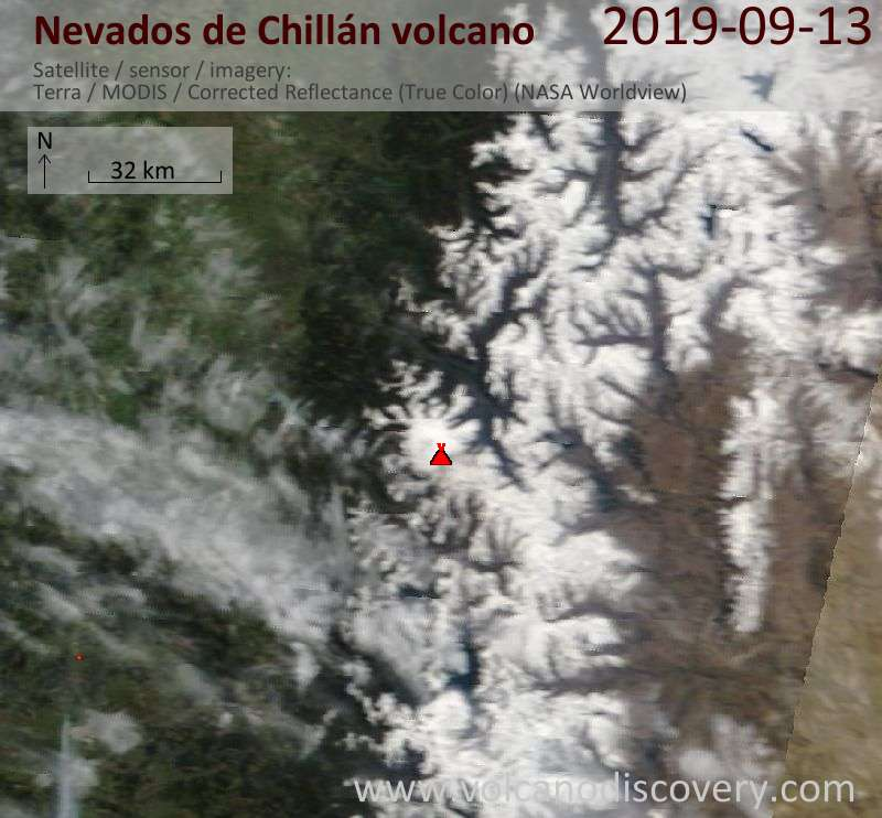 Satellite image of Nevados de Chillán volcano on 13 Sep 2019