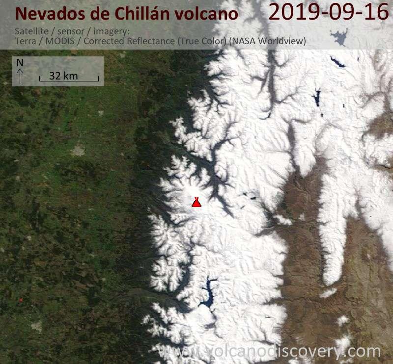 Satellite image of Nevados de Chillán volcano on 16 Sep 2019