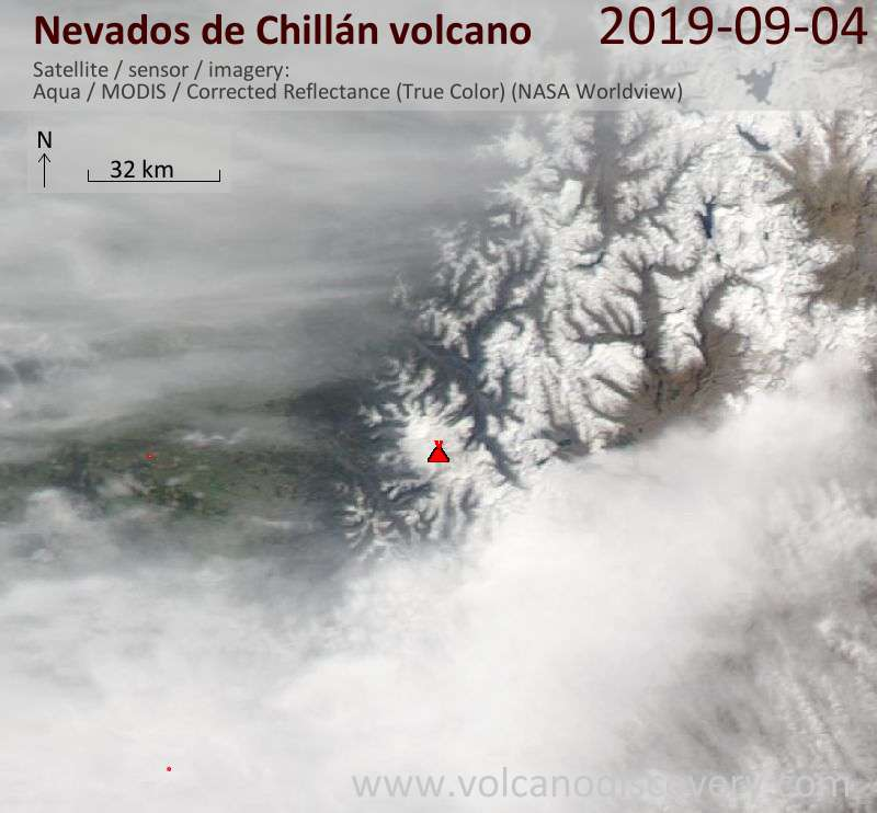 Satellite image of Nevados de Chillán volcano on  5 Sep 2019