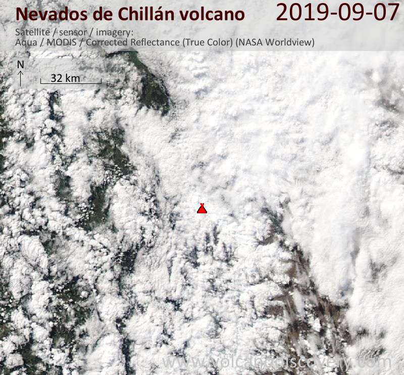 Satellitenbild des Nevados de Chillán Vulkans am  7 Sep 2019