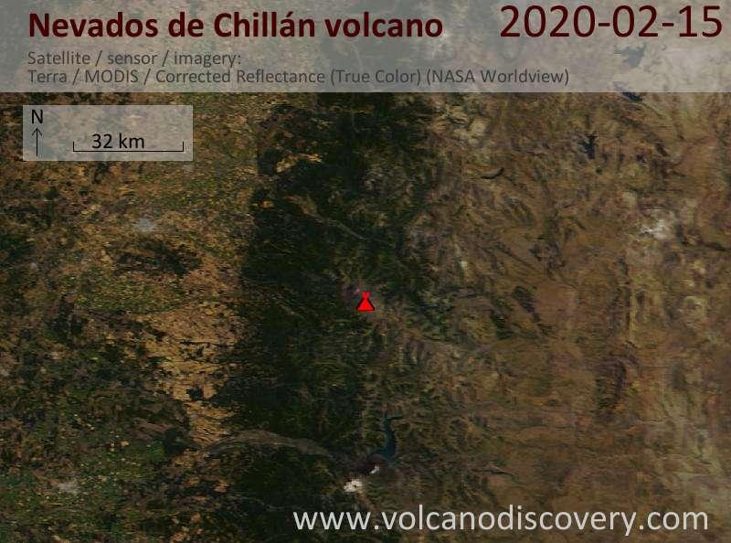 Спутниковое изображение вулкана Nevados de Chillán 15 Feb 2020