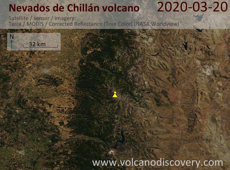 Satellite image of Nevados de Chillán volcano on 20 Mar 2020