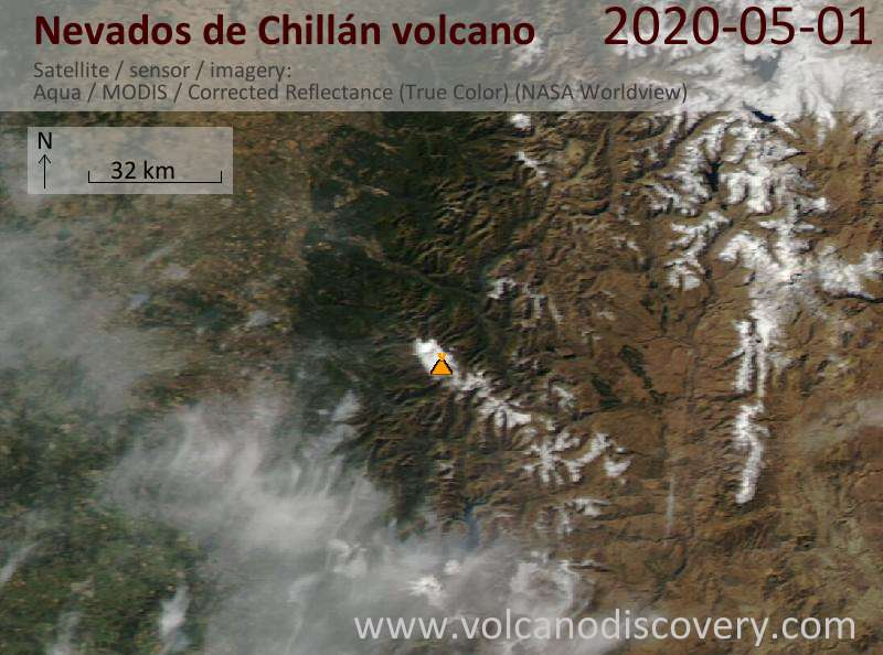 Satellite image of Nevados de Chillán volcano on  1 May 2020