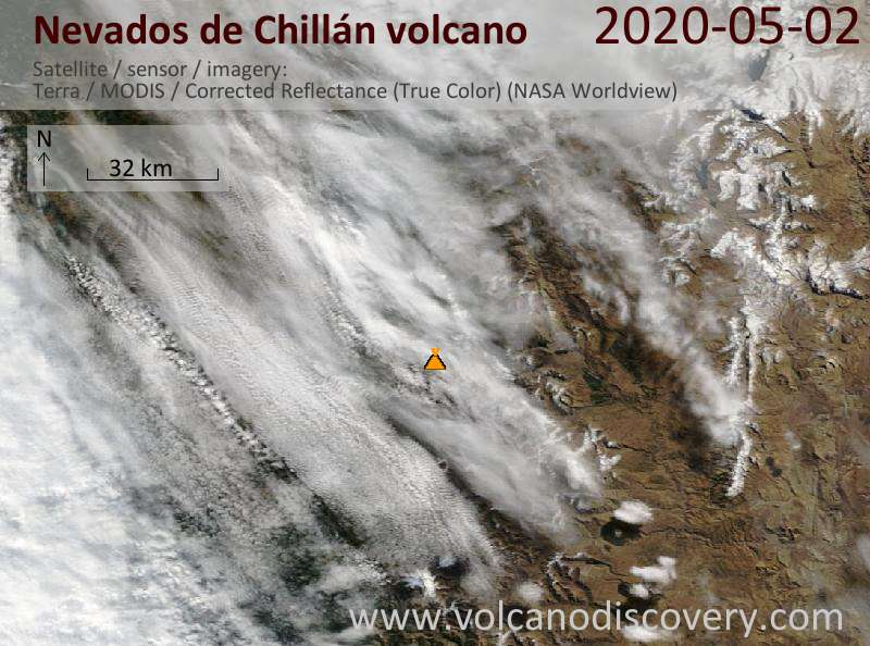 Satellite image of Nevados de Chillán volcano on  2 May 2020