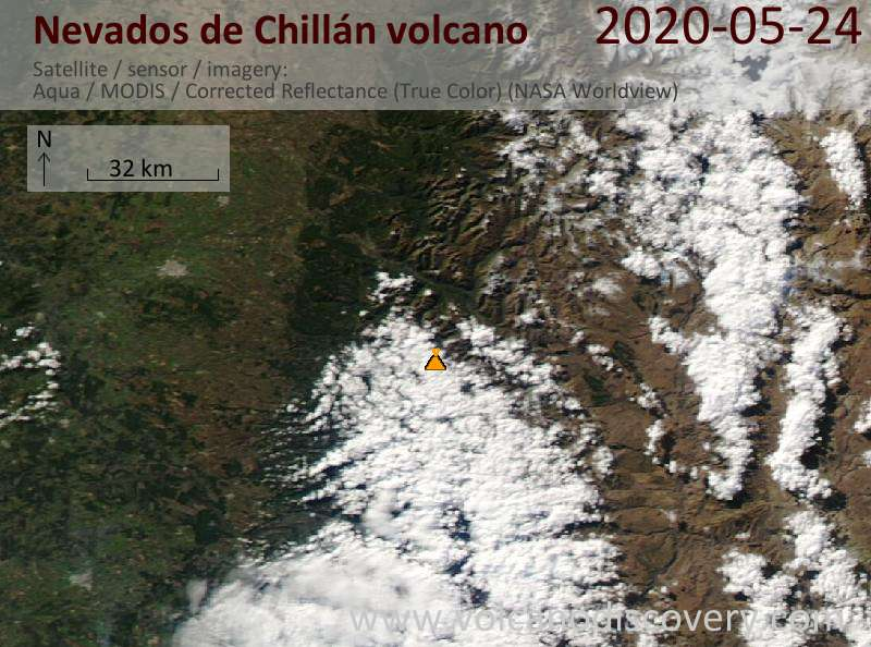 Satellite image of Nevados de Chillán volcano on 24 May 2020