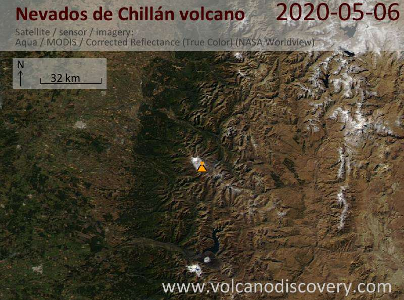 Satellite image of Nevados de Chillán volcano on  6 May 2020