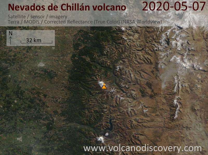 Satellite image of Nevados de Chillán volcano on  7 May 2020
