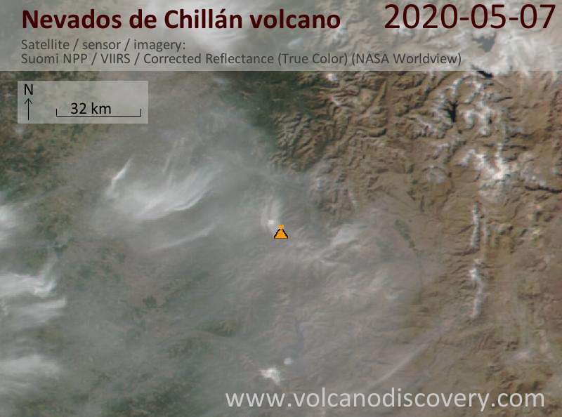 Satellite image of Nevados de Chillán volcano on  8 May 2020