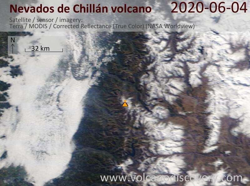 Satellite image of Nevados de Chillán volcano on  4 Jun 2020