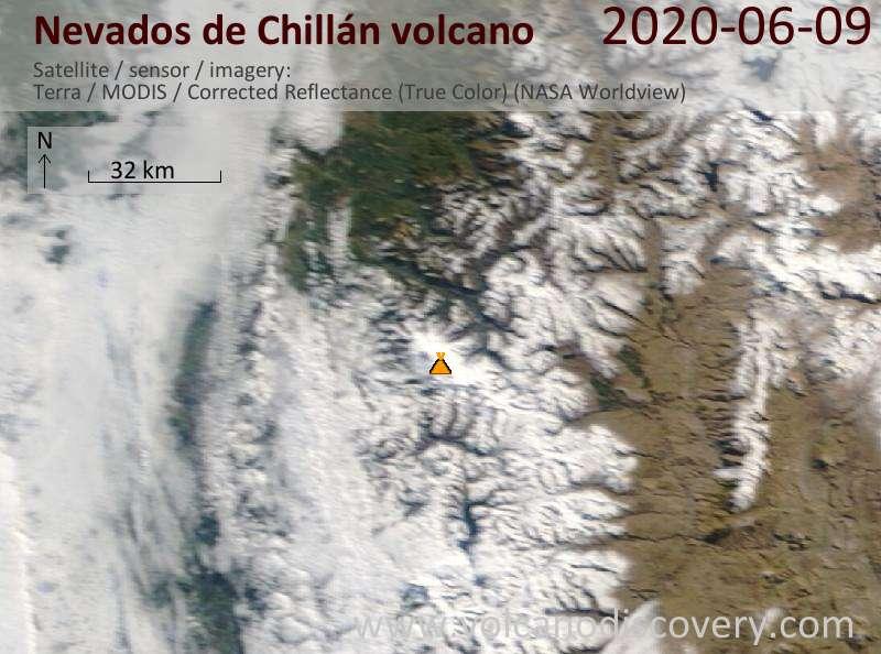 Satellite image of Nevados de Chillán volcano on  9 Jun 2020