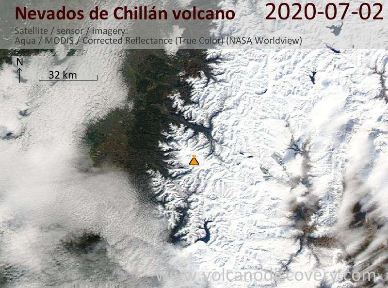 Satellite image of Nevados de Chillán volcano on  3 Jul 2020