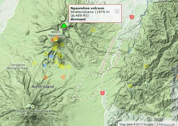 Earthquakes (yellow and red circles) near Ngauruhoe during the past 14 days