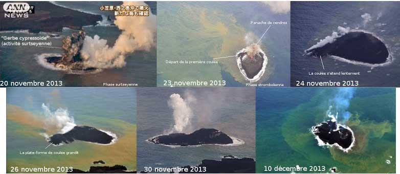Comparison of the new Island off Nishino-shima between 20 Nov (surtseyan activity) and 10 Dec (end of strombolian and effusive? activity) (screenshots and annotations by Blog Culture Volcan)