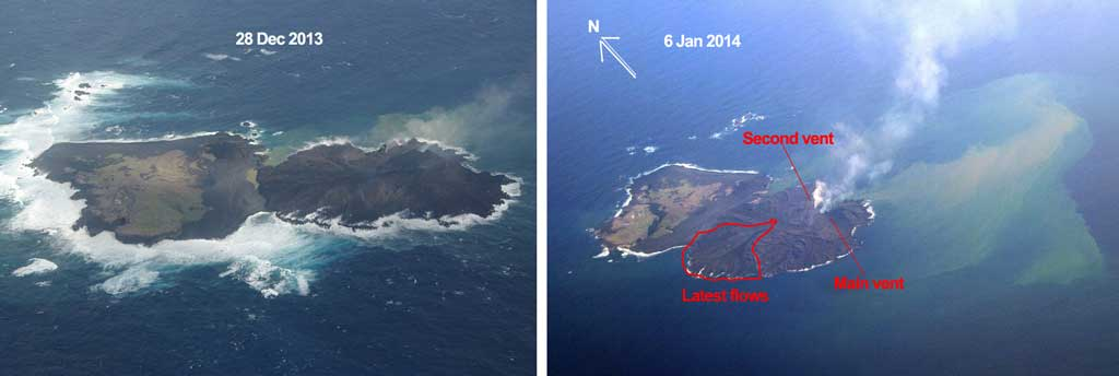 Comparison of Nishino-shima between 28 Dec and 6 Jan (Japanese Coast Guard)