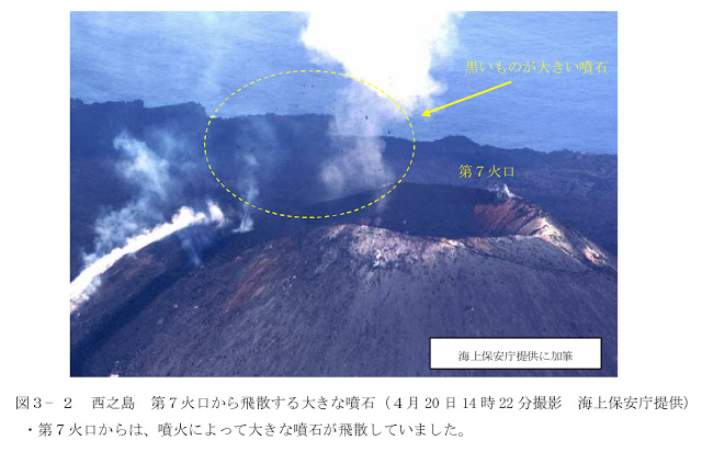 Aerial view of the central cone of Nishinoshima island and the vent of the new eruption (image: Japanese Coast Guard)