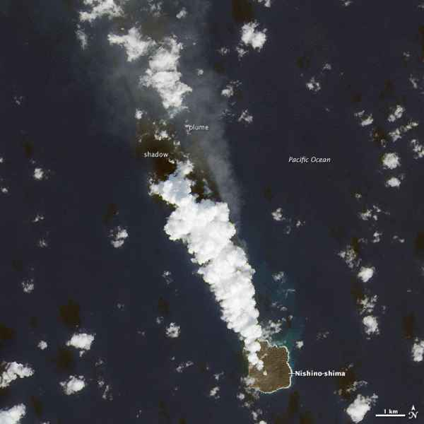 Steam plume from Nishinoshima on 27 Nov 2014 (Landsat 8 image / NASA Earth Observatory)