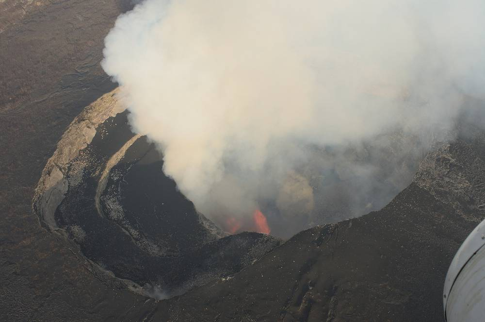 The lava lake at the summit of Nyamuragira volcano in DR Congo.Photo: Benoit Smets