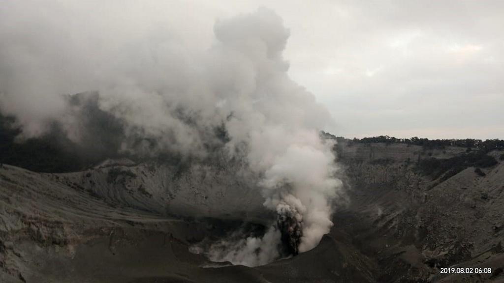 Explosion in progress this morning. Credit: PVMBG