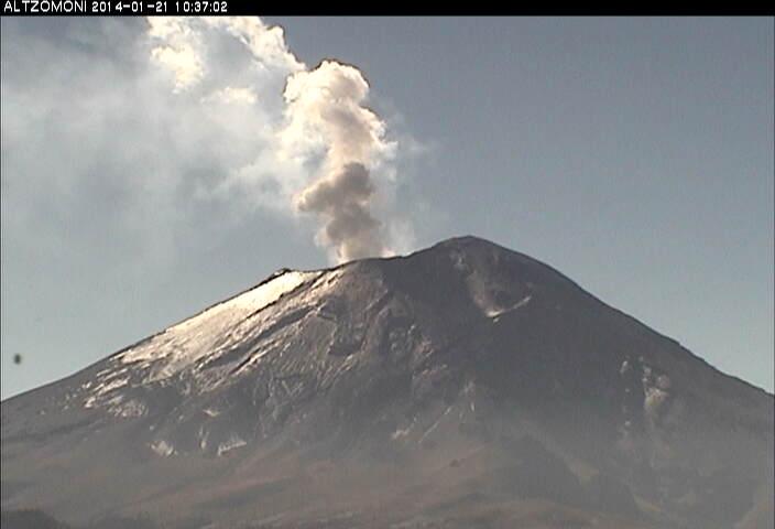 Kleine uitbarsting van Popocatépetl gisteren