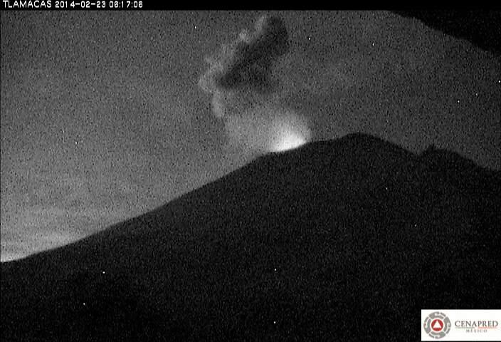 Kleine explosie op Popocatépetl gisteren (CENAPRED)